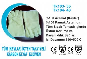 Tüm (Kevlar) İçten Takviyeli Karbon Elyaf  Eldiven TK103-35