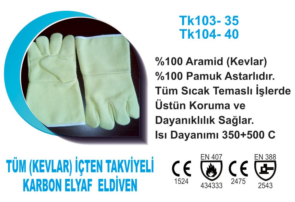 Tüm (Kevlar) İçten Takviyeli Karbon Elyaf  Eldiven TK104-40