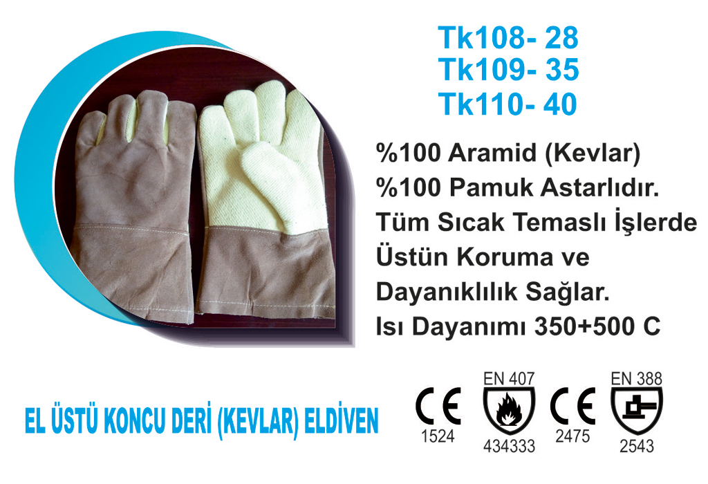 El Üstü Koncu Deri (Kevlar) Eldiven TK109-35